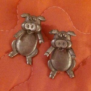 Cute Articulating Pig Earrings by JJ